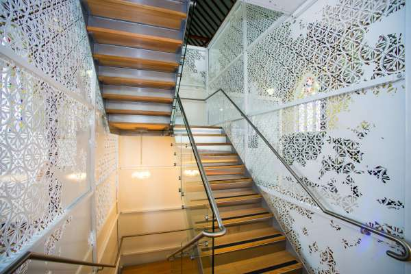 Chalmers Staircase completed installation including steel paneling