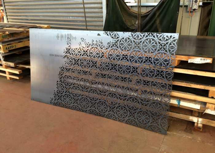 Laser cut steel screening panel